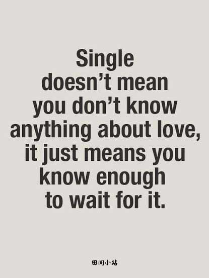 Single doesn't mean you don't know anything about love. It just means you know enough to wait for it.