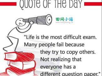 英语名言   生活是最难的考试,每个人的考卷都不同
