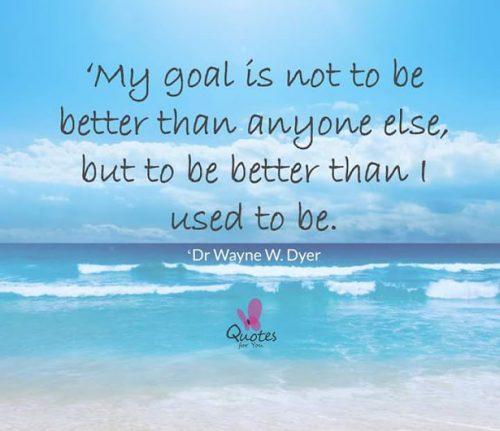 英语名言:我的目标不是去比任何人都好,而是要比过去的我好。