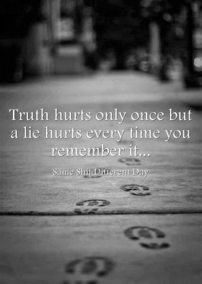 英语名言:真相只会伤害一次,但每次你想起谎言都会伤害到你。