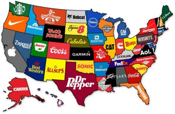 地图 1 美国各州的知名企业