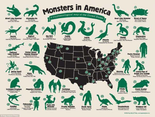 地图 3 美国各州的神秘怪物