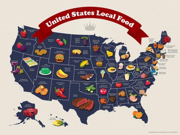 地图 2 美国各州的著名美食