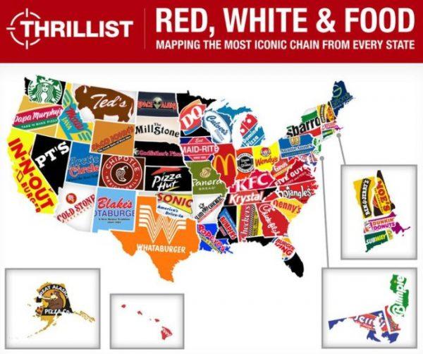 地图 7 美国各州最具标志性的连锁店