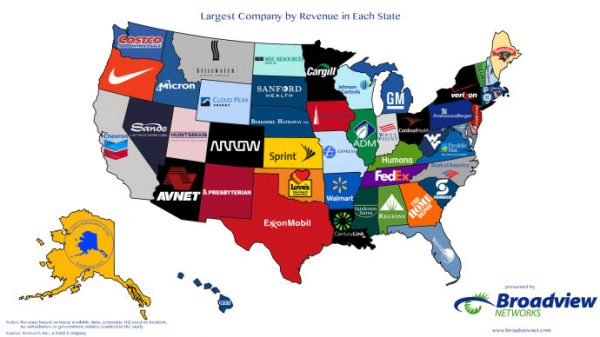 地图 6 美国各州最大的公司