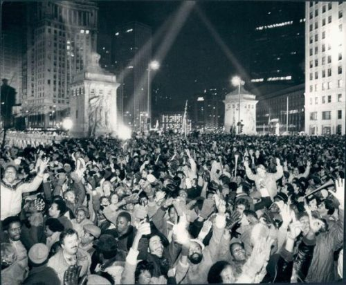 Chicago rings in the New Year on N Michigan Ave, 1982.