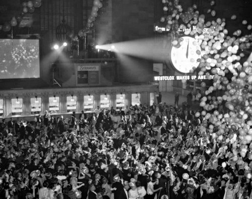 New Year's Eve celebration in Grand Central Station, New York, 1963