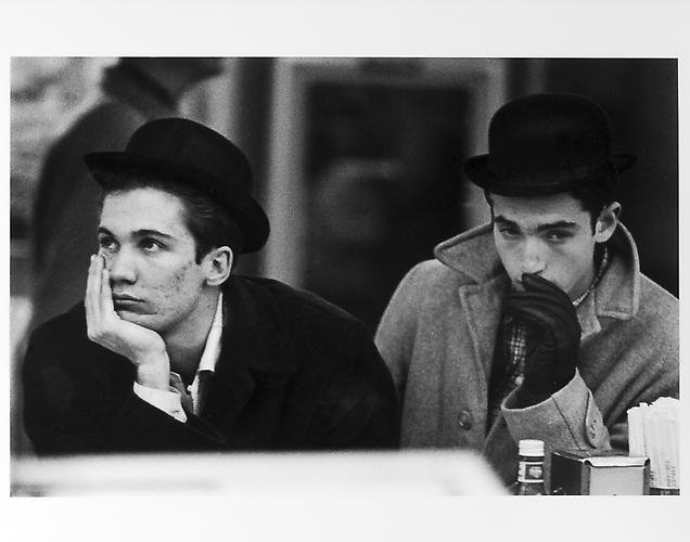 Two pensive men, New Year's Eve, 1950s