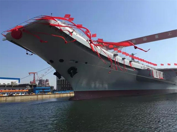 英语热词 | 中国首艘国产航母下水(first home-built aircraft carrier hit the water)