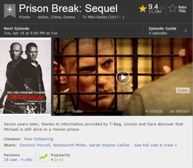 《越狱》第五季首播获好评 重温经典台词