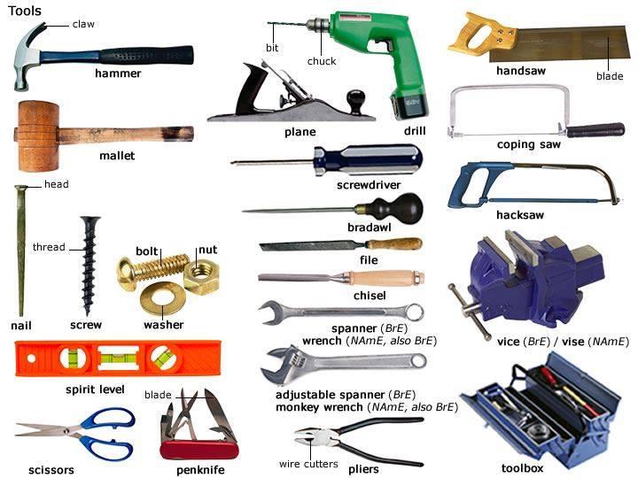 各类常用工具英语词汇