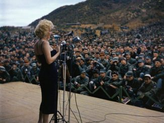 Marilyn Monroe performing to troops in Korea, 1954