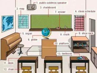 图说英语词汇   教室里各类学习桌椅文具英语词汇