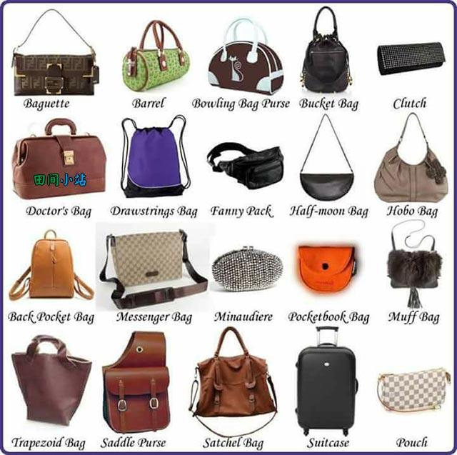 图说英语词汇 | 各种款式女士手提箱包英语词汇中英对照