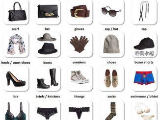 图说英语词汇 | 衣柜内常见各类衣物服饰鞋袜英语词汇中英对照