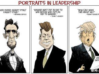 英语漫画 | 领导肖像:一句话对比林肯、肯尼迪和特朗普