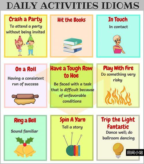 图说英语词汇   9个与日常活动相关的英语习语