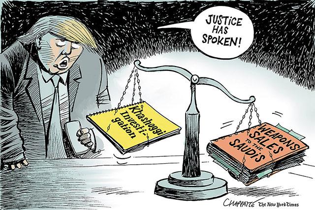 """英语漫画   卡舒吉案与特朗普的""""正义"""""""