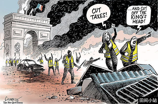 """英语漫画   """"黄背心""""攻占凯旋门 France's Yellow Vest Revolution"""